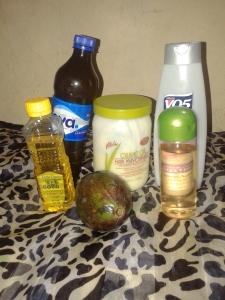 L-R EVOO, Pure honey, Vitale protein deep conditioner, VO5 clarifying conditioner, extra virgin coconut oil and ripe avocado pear